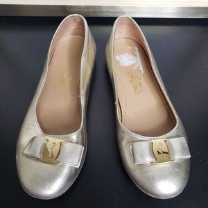 Salvatore Ferragamo metallic bow flats